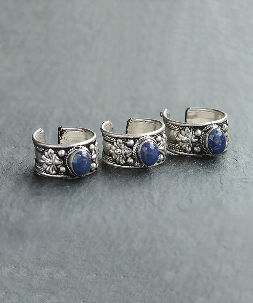 Tibetan Midnight Blue Silver Trinket Ring