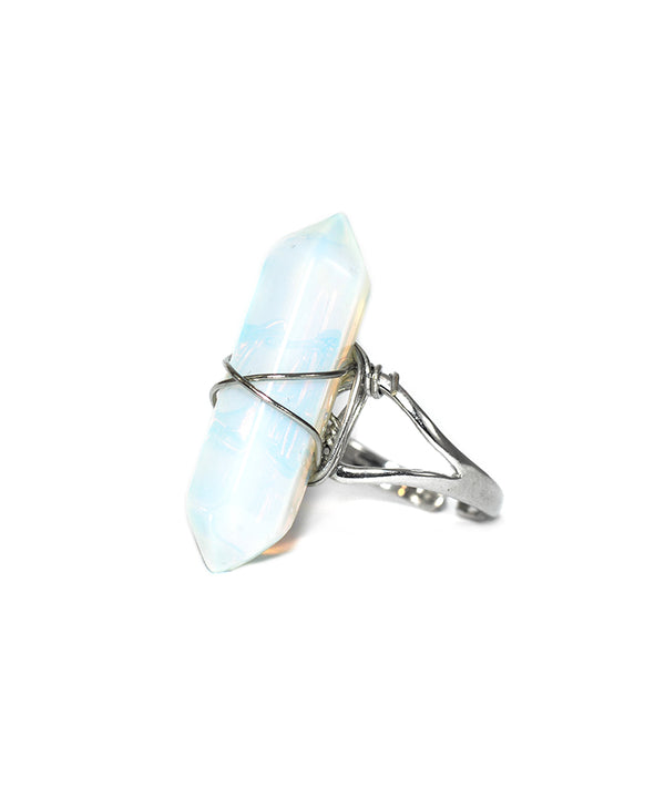 Opal Crystal Point Quartz Ring