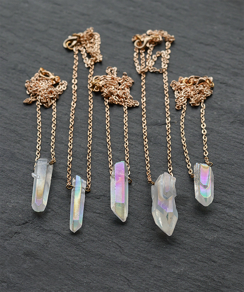 Angel Quartz Crystal Gold Layering Necklace