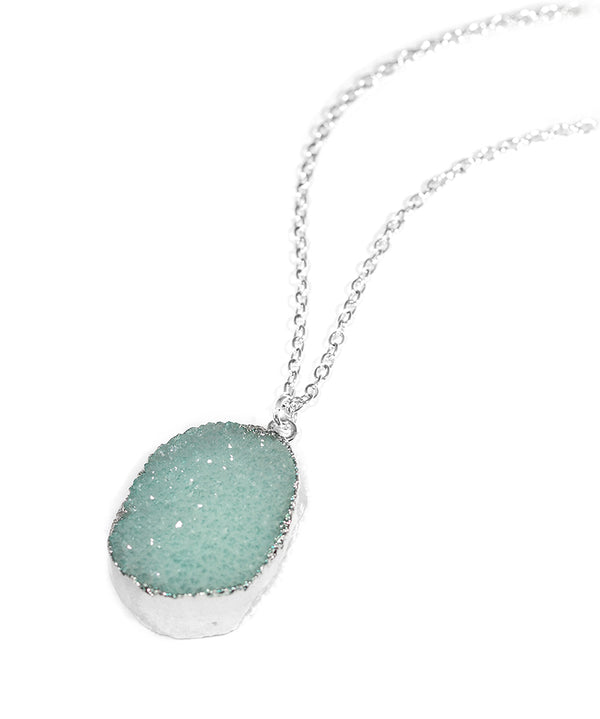 Silver Pastel Turquoise Crystal Druzy Necklace