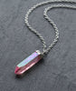 Pink Angel Aura Healing Quartz Silver Necklace