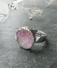 Pink Rose Quartz Druzy Sparkly Ring