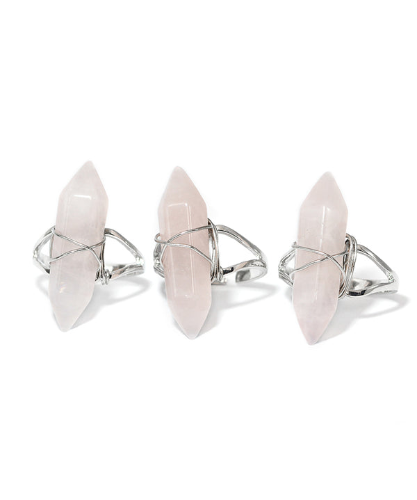 Pink Rose Quartz Crystal Point Ring