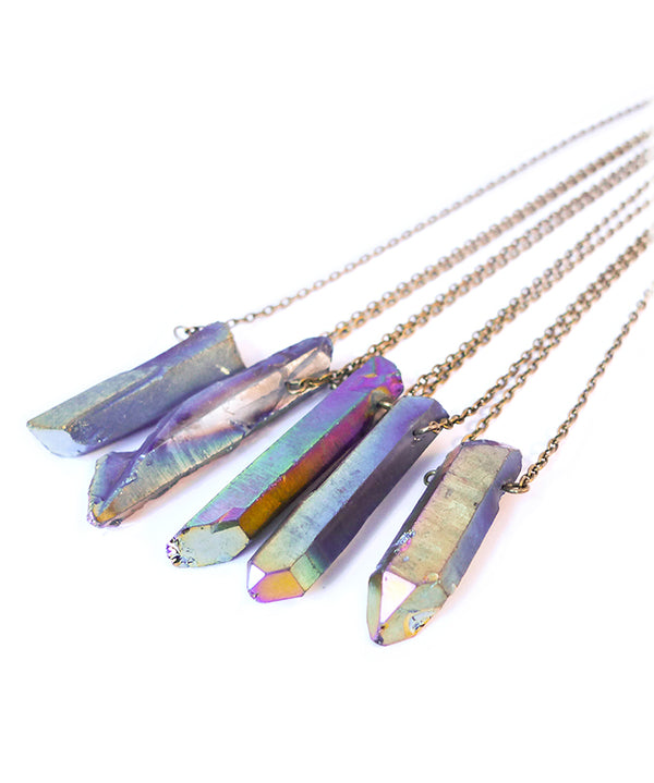 Rainbow Aura Crystal Bullet Necklace