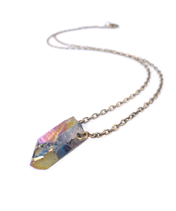 Rainbow Aura Crystal Quartz Pendant Necklace