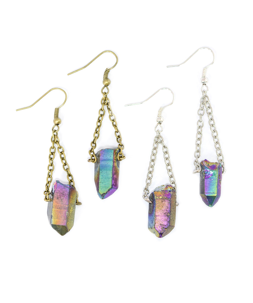 Rainbow Crystal Quartz Stone Earrings