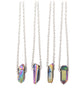 Rainbow Healing Crystal Quartz Silver Necklace