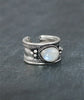 Rainbow Moonstone Boho Silver Trinket Ring