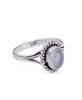 Borealis Rainbow Moonstone Opal Sterling Silver Ring