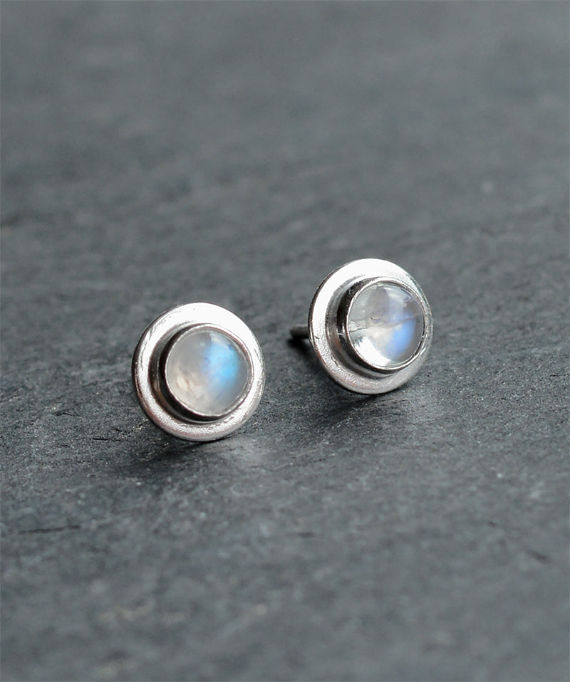 Mini Moonstone Crystal Sterling Silver Stud Earrings