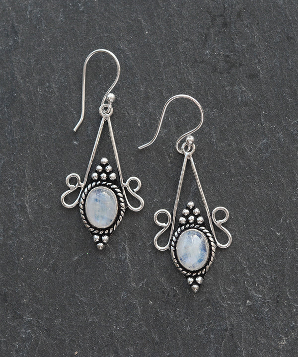 Luna Rainbow Moonstone Sterling Silver Drop Earrings