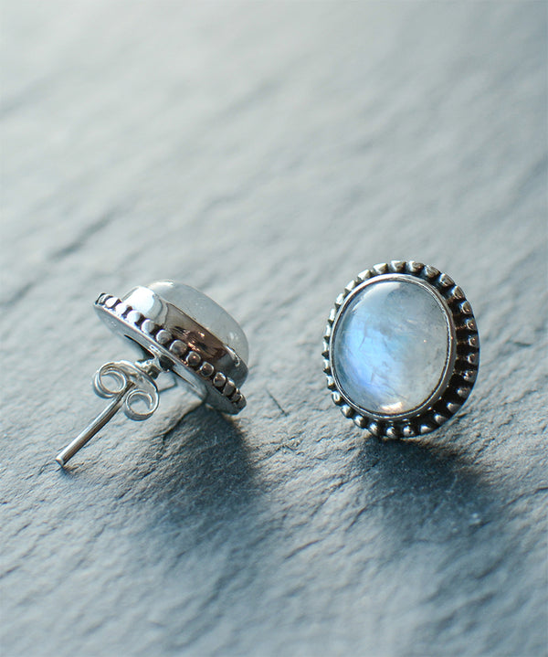 Rainbow Moonstone Sterling Silver Stud Earrings