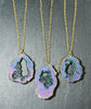 Sparkly Rainbow Quartz Druzy Slice Necklace