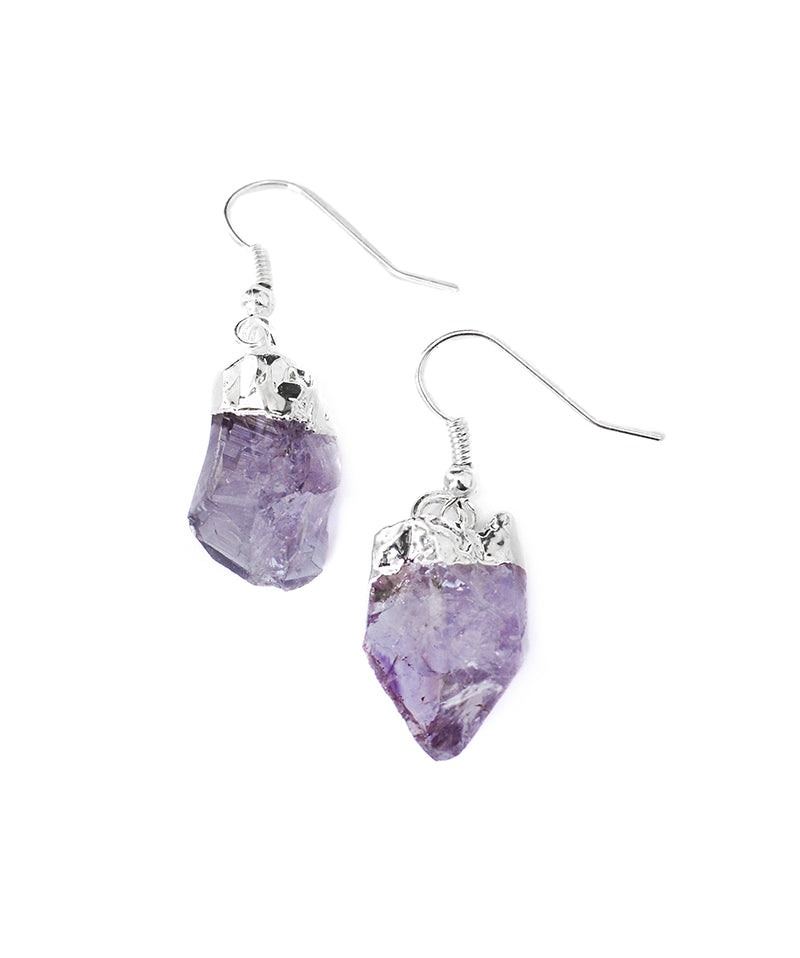 Raw Amethyst Cluster Crystal Quartz Earrings