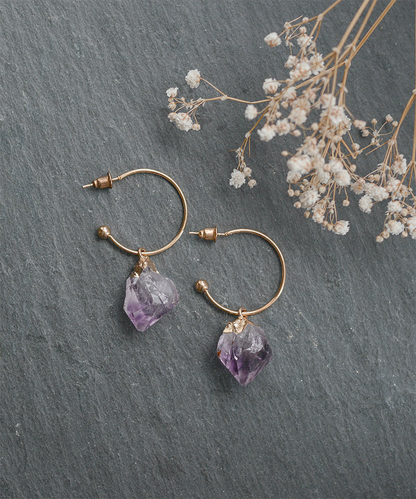 Amethyst Quartz Crystal Gold Hoop Earrings