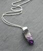Raw Amethyst Crystal Pillar Geode Necklace