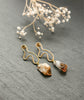 Citrine Quartz Crystal Gold Hoop Abstract Earrings