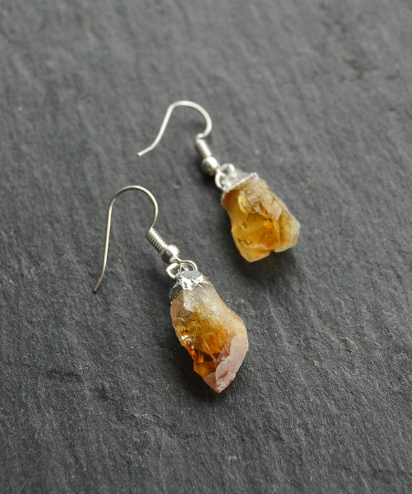 Golden Citrine Crystal Cluster Silver Earrings