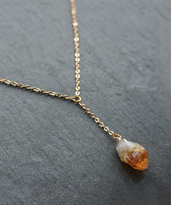 Raw Citrine Crystal Layered Gold Necklace