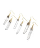 Raw Clear Crystal Healing Quartz Gold Earrings