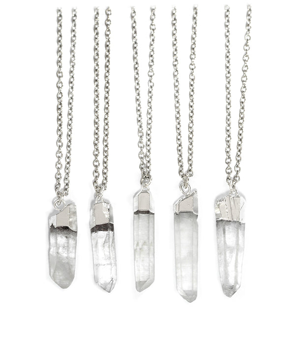 Raw Clear Crystal Healing Quartz Necklace