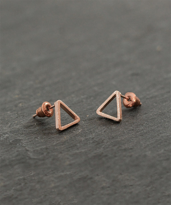 Rose Gold or Silver Triangle Geometric Stud Earrings