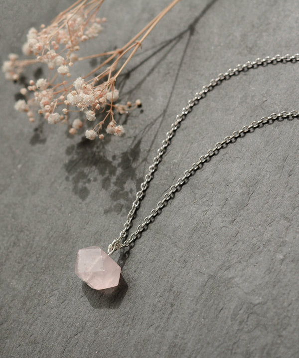 Rose Quartz Crystal Silver Necklace
