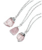 Silver Moon & Rose Quartz Crystal Layered Necklace