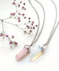 Rose Quartz Healing Crystal Bullet Necklace