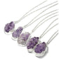 Silver Amethyst Crystal Druzy Necklace