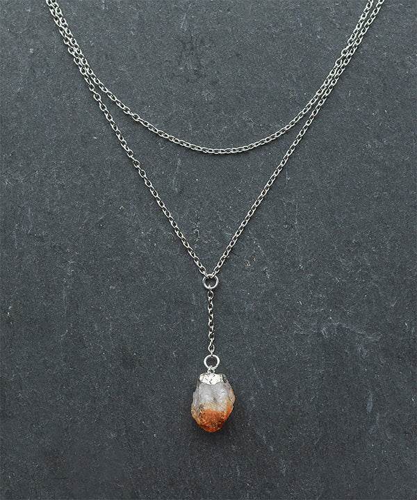 Silver Citrine Crystal Layered Chain Necklace