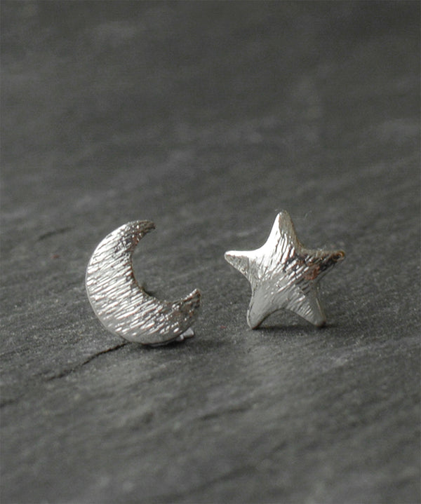 Silver Moon & Star Boho Earrings
