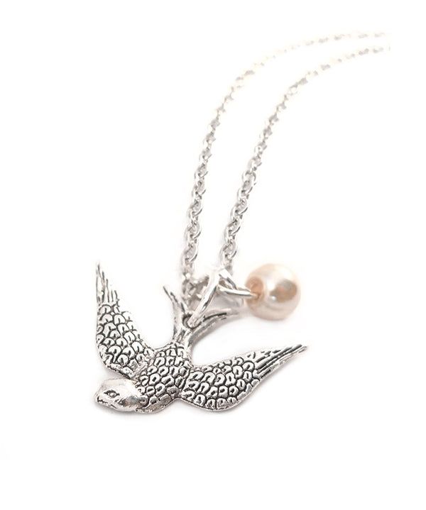 Silver Swallow & Pearl Charm Necklace