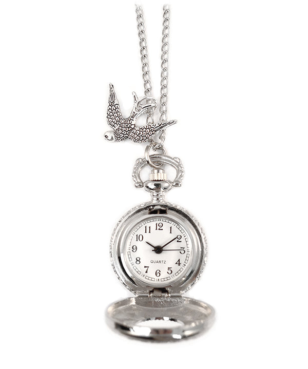 Swallow Birdy Vintage Silver Clock Necklace