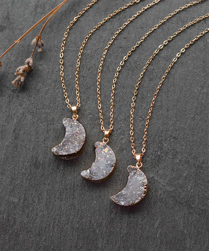 Sparkly Crystal Druzy Moon Pendant Gold Necklace