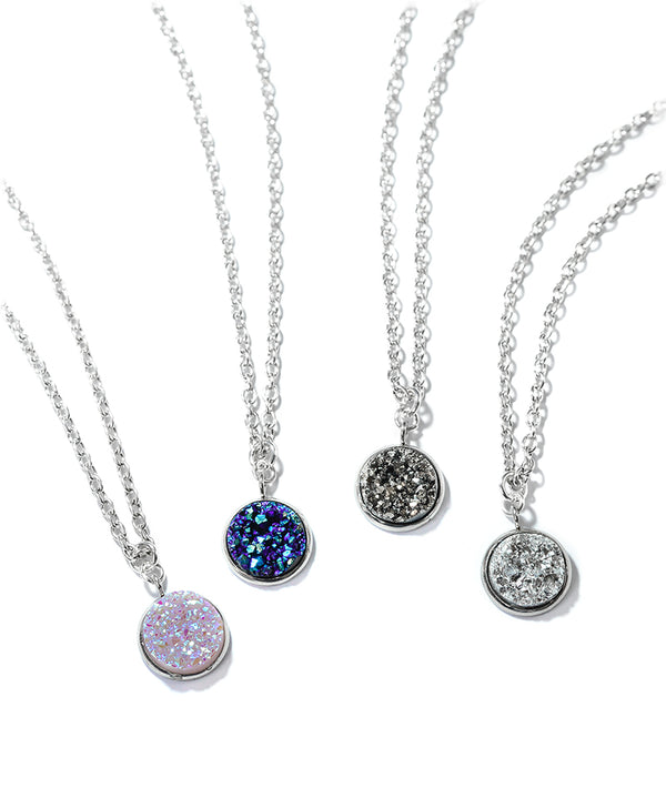 Sparkly Blue, Silver or Unicorn Tear Druzy Necklace