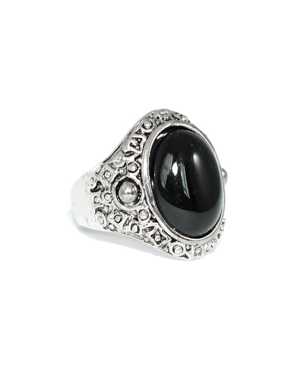Tibetan Black Stone Antique Silver Ring