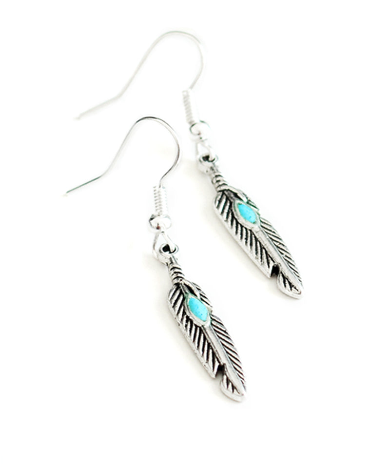 Tibetan Turquoise Silver Festival Feather Earrings