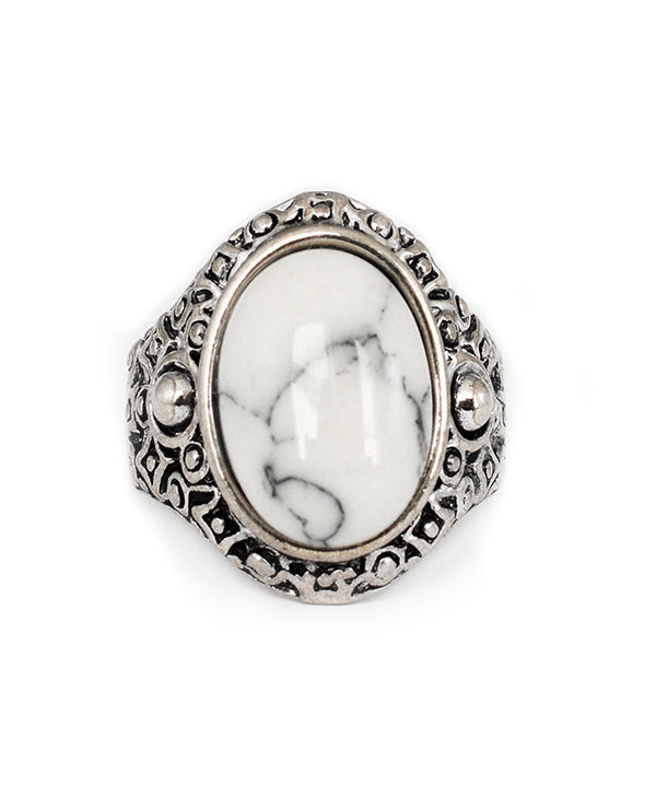 Tibetan Boho White Stone Antique Silver Ring