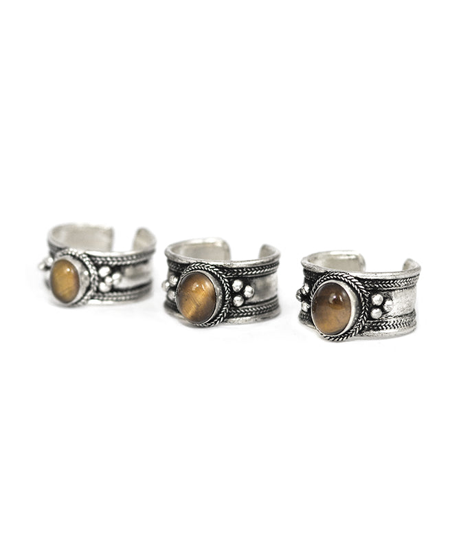 Tigers Eye Gemstone Silver Trinket Ring