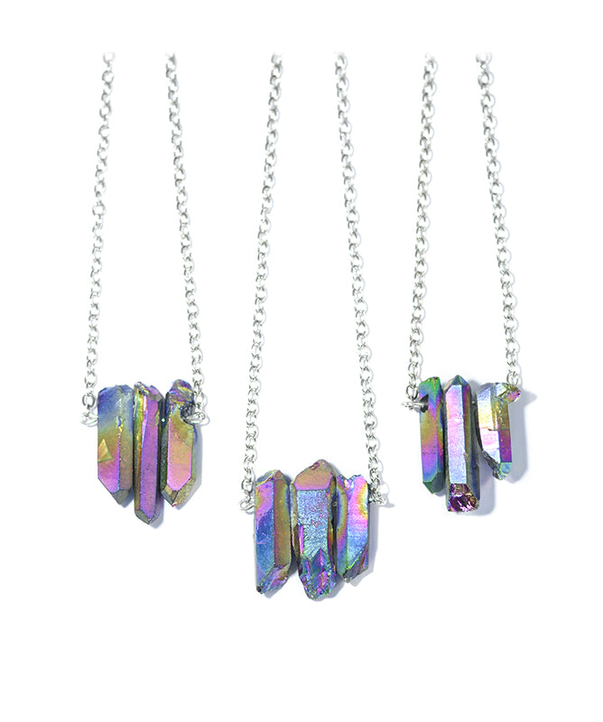 Triple Rainbow Healing Crystal Silver Necklace