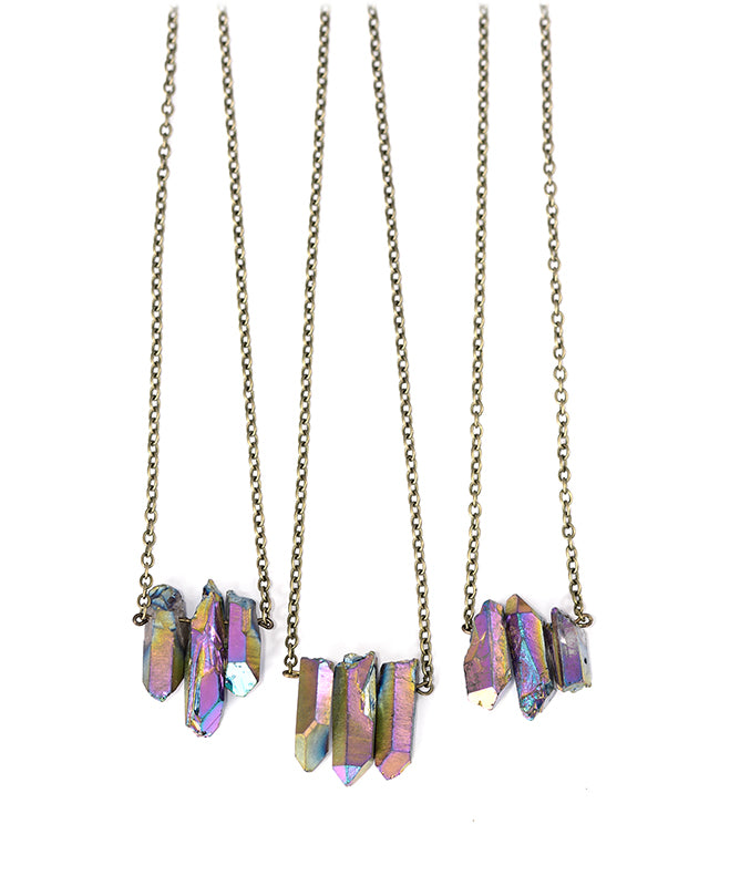 Triple Rainbow Quartz Healing Crystal Necklace