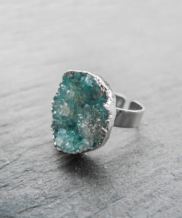 Sparkly Turquoise Quartz Crystal Druzy Ring