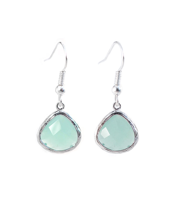 Turquoise Crystal Matte Silver Drop Earrings