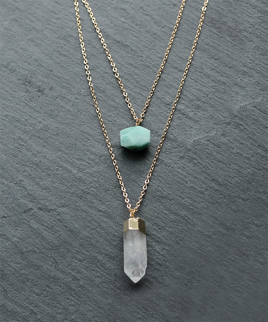 Turquoise Crystal & Gold Clear Quartz Layered Necklace