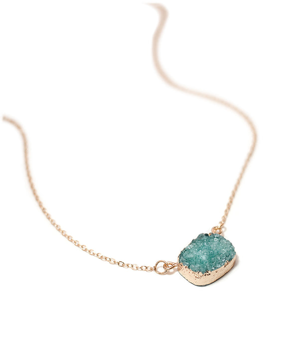 Sparkly Turquoise Quartz Druzy Gold Necklace