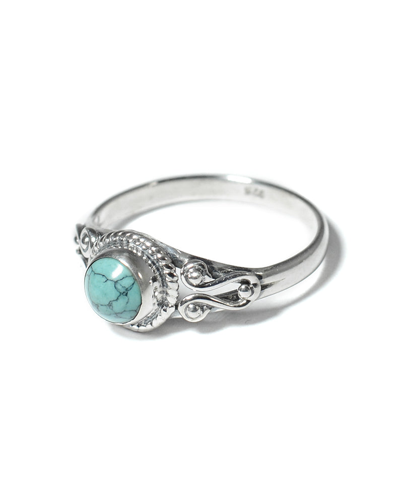 Round Turquoise Stone Sterling Silver Ring