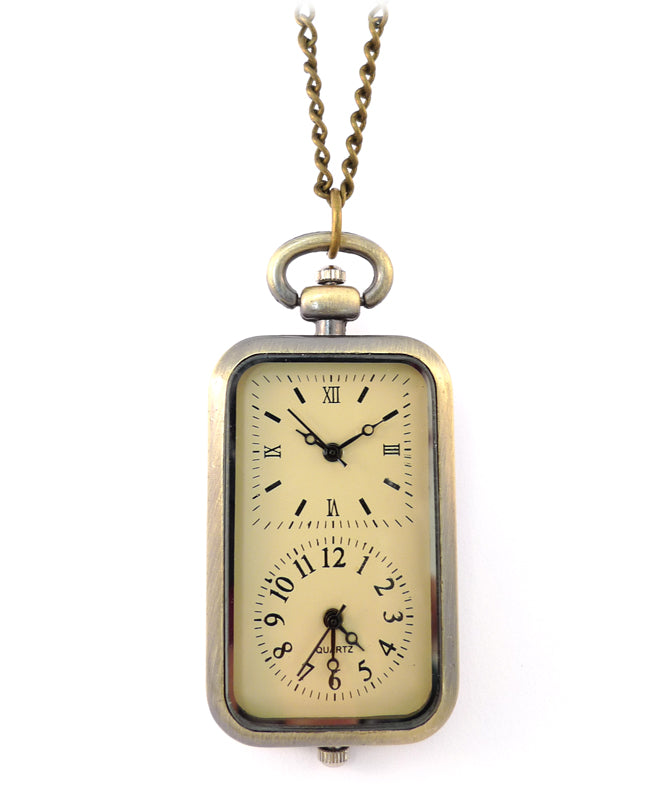 Vintage Double Clock Necklace
