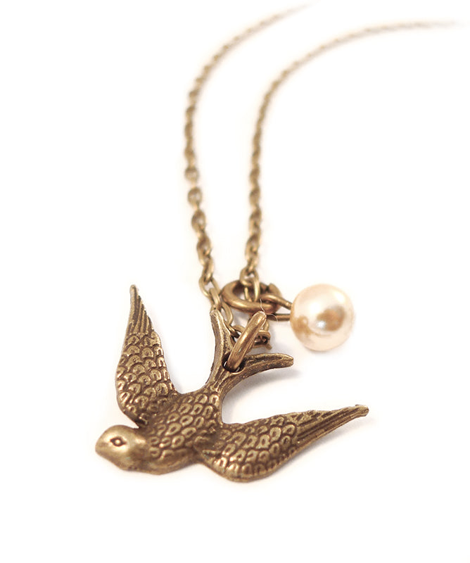 Vintage Gold Swallow & Pearl Charm Necklace