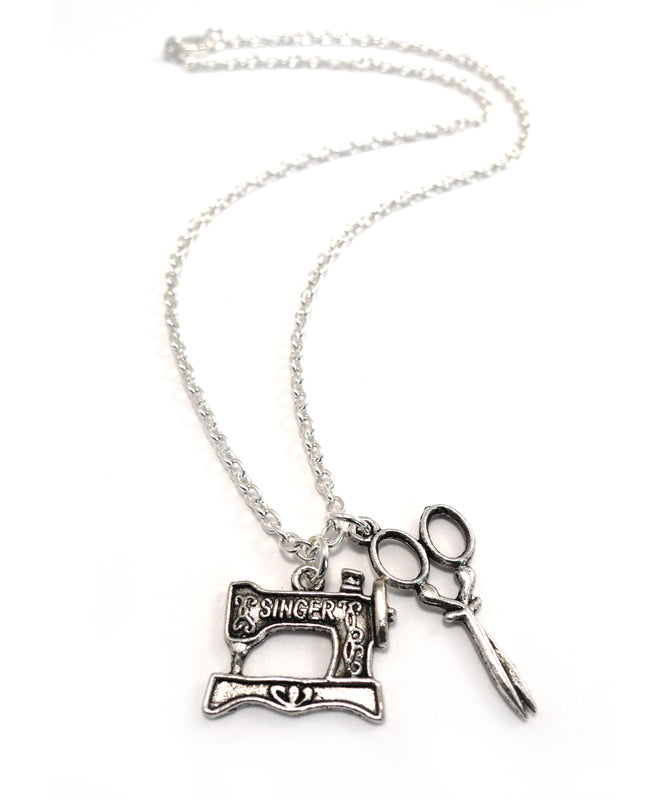 Vintage Sewing Machine and Scissors Necklace